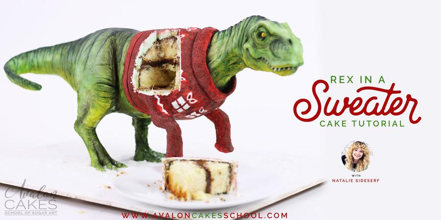 T Rex Christmas.Rex In A Sweater Trex Christmas Cake Tutorial Avalon Cakes